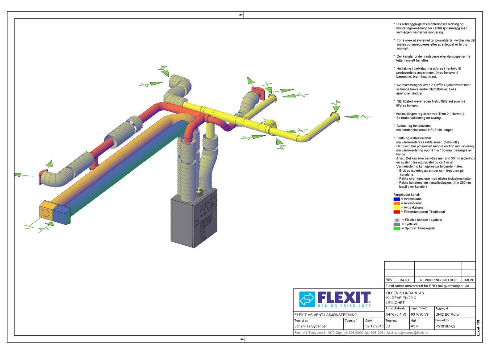 Underetasjens ventilasjonsanlegg i tre dimensjoner